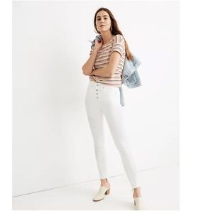 """NWT Madewell 9"""" Mid-Rise Skinny Jeans Pure White"""